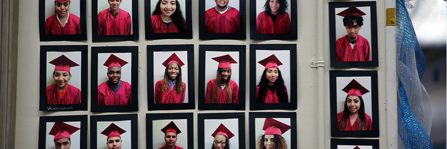 Image is of 17 individual photos of students in dark red graduation robes and caps.